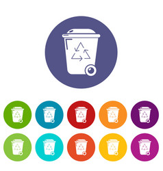 trash wheelie bin icons set color vector image