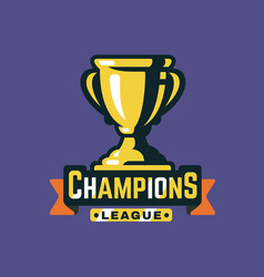 trophy cup and ribbon with text vector image