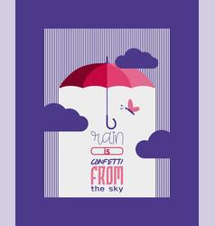 umbrella or parasol open poster or card vector image