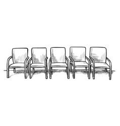 waiting room or corridor interior design sketch vector image
