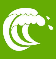 Wave of sea tide icon green vector