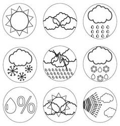 Weather icons set line for mobile applications vector image