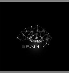 White isolated lines and dots brain shape vector