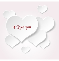 White valentine hearths from paper with love text vector