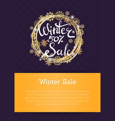 winter sale poster in frame made of snowflakes vector image