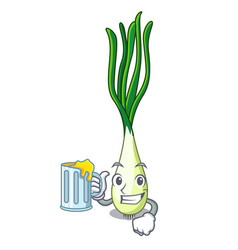 With juice cartoon fresh spring onion for cooking vector