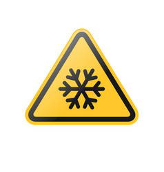 Yellow snow flake warning sign vector