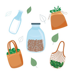 zero waste reuse and plastic reduce concept in vector image
