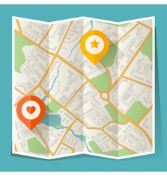 Abstract city folded map with location markers vector
