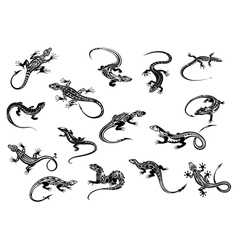 Black lizards reptiles for tattoo design vector image vector image