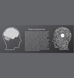 human brain mind head with artificial intelligence vector image