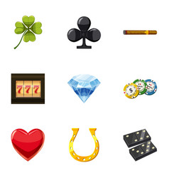 luck icons set cartoon style vector image vector image