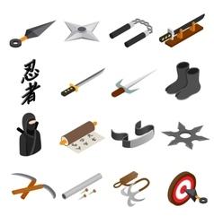 Ninja isometric 3d icon vector image vector image