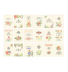 retro card with flowers set romantic vintage vector image
