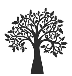 silhouette of oak tree with leaves vector image vector image