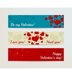 Valentines Day Horizontal Banners Set with Hearts vector image vector image