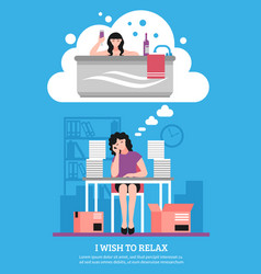 woman wishing to relax flat vector image
