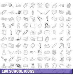 100 school icons set outline style vector image vector image