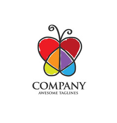 butterfly logo with heart shaped wings vector image vector image