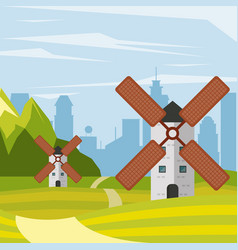 colorful background natural landscape with towers vector image