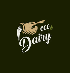 eco dairy logo template milk product vector image vector image