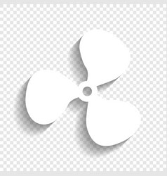 fan sign white icon with soft shadow on vector image vector image