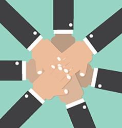 Hands Join Together Teamwork Spirit Conceptual vector image