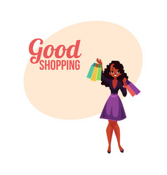 happy shopping poster banner with black girl vector image