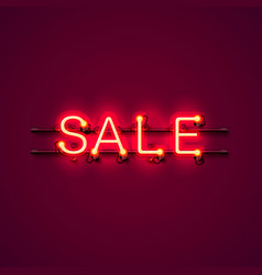 neon signboard text sale vector image