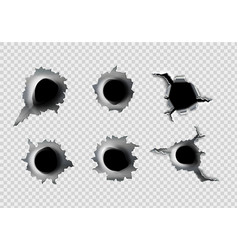 ragged hole in metal from bullets vector image vector image
