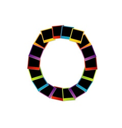 Alphabet O with colorful polaroids vector image vector image