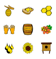bee garden icons set cartoon style vector image