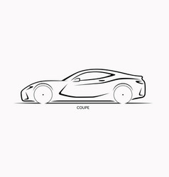 car silhouette side view of sports coupe vector image vector image