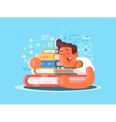 Cartoon man sleep on book vector image