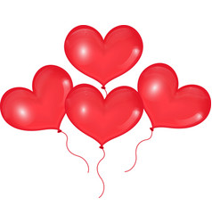 Realistic 3D red balloons in the shape of heart vector image vector image