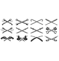 set of different crossed design elements vector image vector image