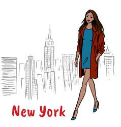 woman walking in ny vector image