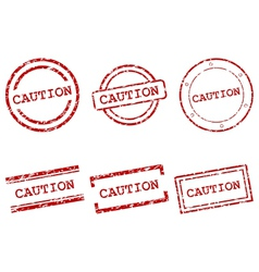 Caution stamps vector image vector image
