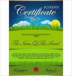 Ecology certificate template vector image vector image