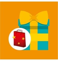 gift box red bag gift star design vector image vector image