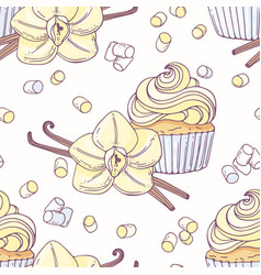 Hand drawn seamless pattern with vanilla cupcake vector