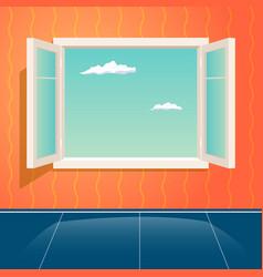 home open glass window frame cartoon interior vector image vector image