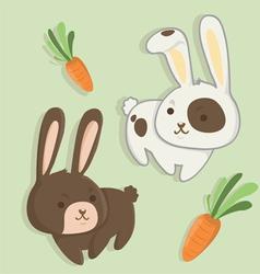 rabbit twins vector image vector image