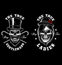set of skulls lady and gentleman vector image