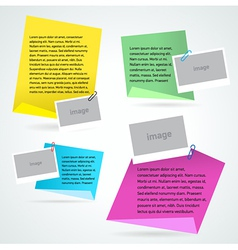 set stiker note text and photo template vector image vector image