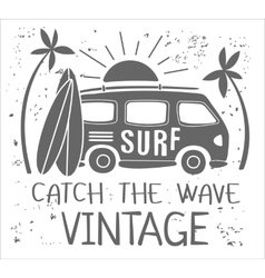 Summer Surf Print with a Mini Van Palm Trees and vector image