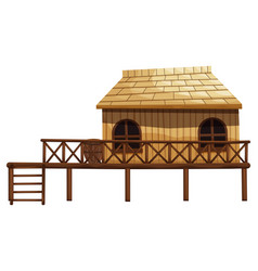 wooden hut with ladder vector image vector image