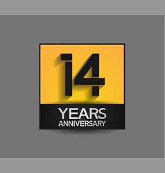 14 years anniversary in square yellow and black vector