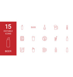 15 beer icons vector