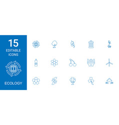 15 ecology icons vector image